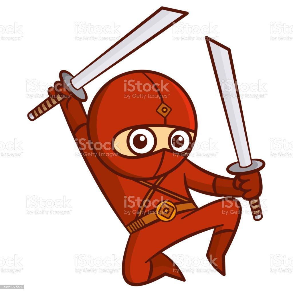 Superheld Rot Ninja Kid Stock Vektor Art und mehr Bilder von Baby ...
