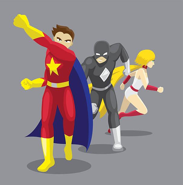 superhero set poses cartoon vector illustration 11 - gerechtigkeitsliga stock-grafiken, -clipart, -cartoons und -symbole