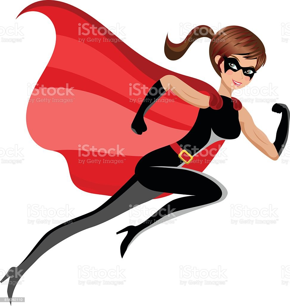 Superhero sexy beautiful woman running or flying isolated vector art illustration