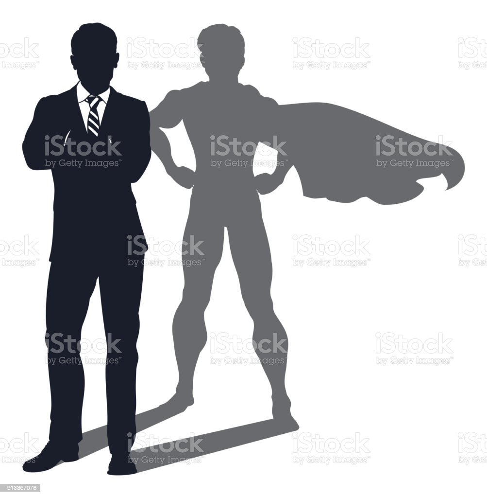 Superhero Shadow Businessman vector art illustration