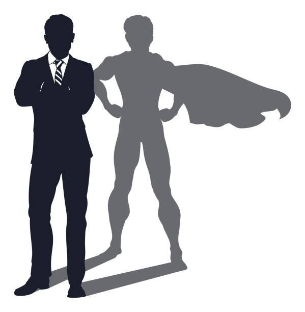 illustrazioni stock, clip art, cartoni animati e icone di tendenza di superhero shadow businessman - business man