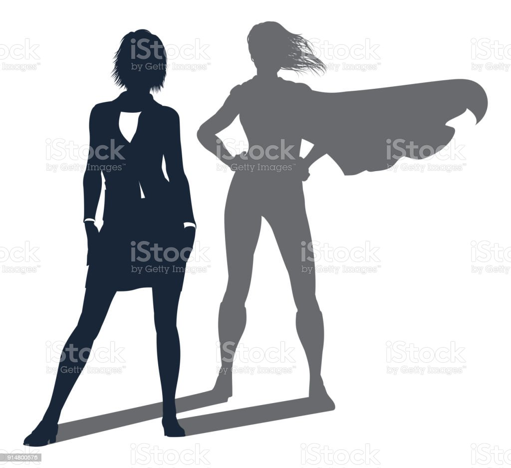 Superhero Shadow Businesswoman vector art illustration