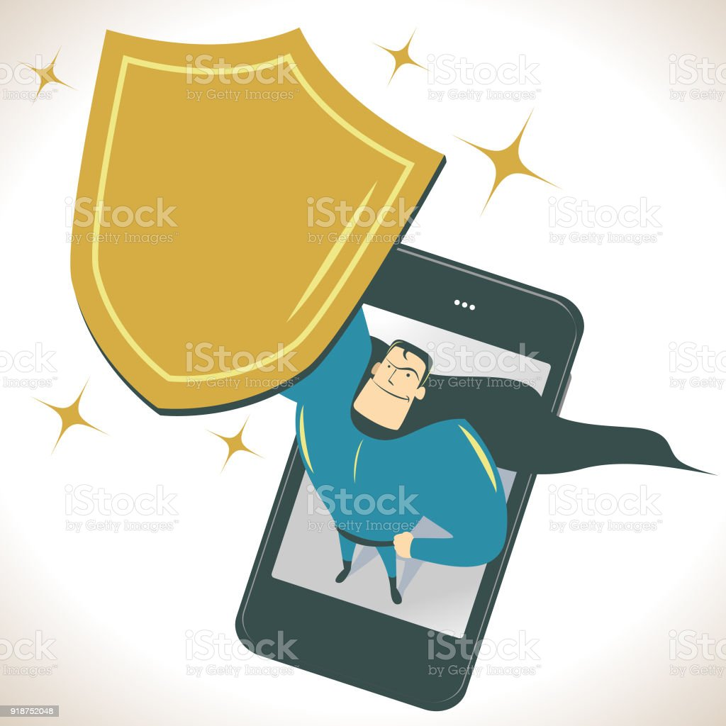 Superhero standing on a smart phone (mobile phone) and looking upward and holding a gold shield vector art illustration