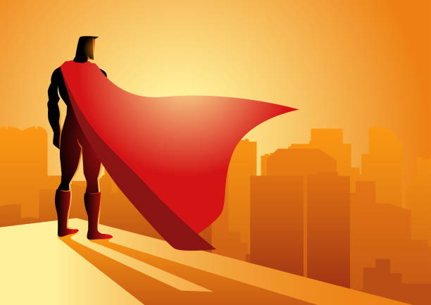 illustrations, cliparts, dessins animés et icônes de super-héros restant sur le bord d'un bâtiment - modèles de bande dessinée