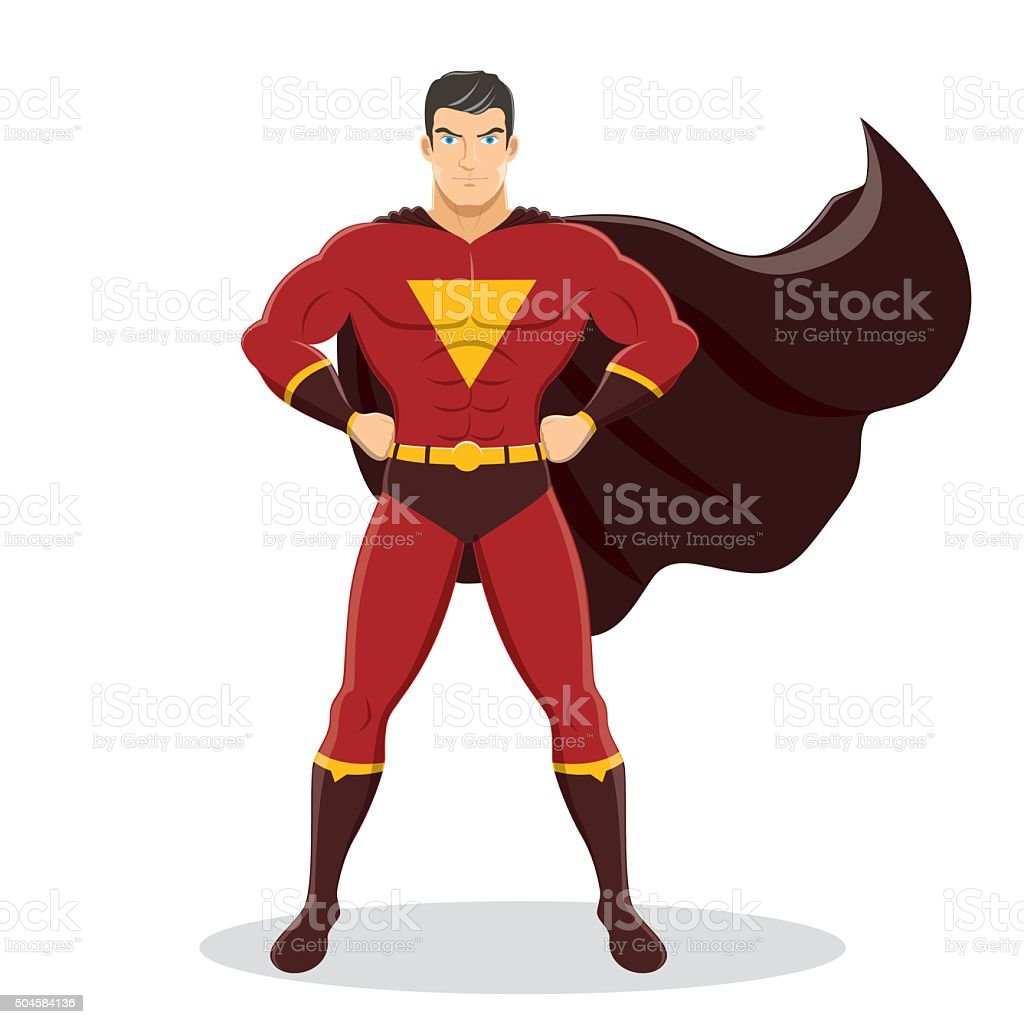 Superhero Standing with Cape Waving in the Wind vector art illustration