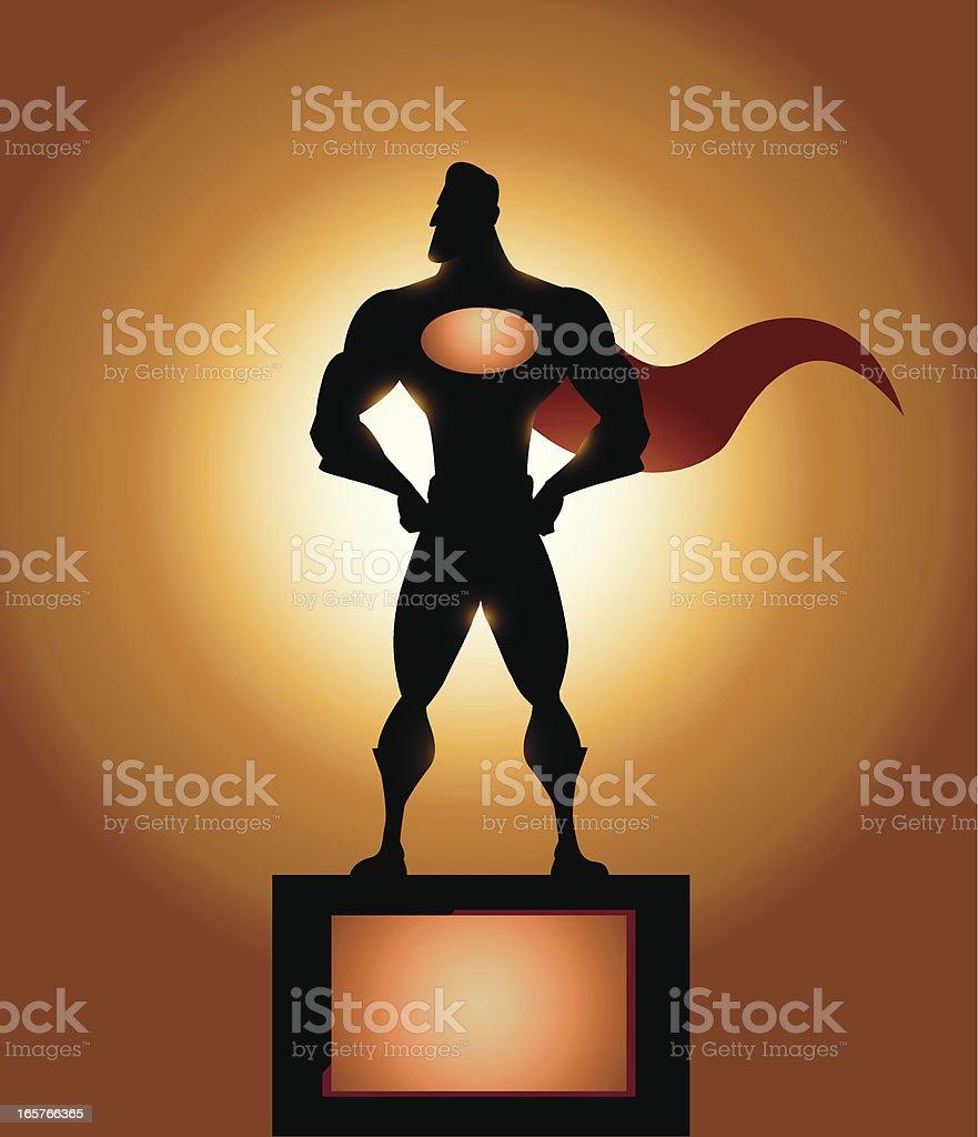 Superhero statue silhouette royalty-free stock vector art