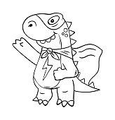 Superhero super dino lizard T-REX in mask. Trendy print design modern vector cartoon illustration for children kid girls. Fashion print design for t-shirt clothes tee coloring badge patch sticker pin.