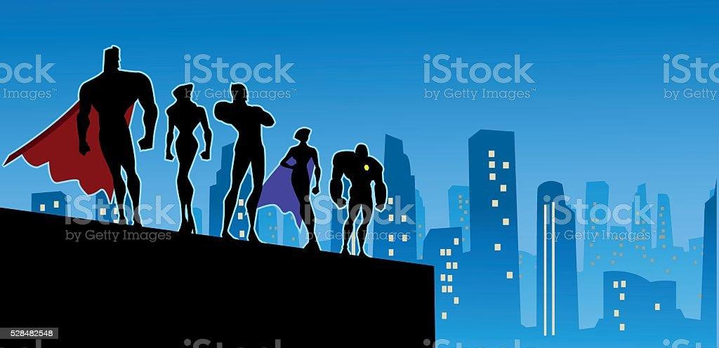 スーパーヒーローシルエットに大きな都市のチーム ベクターアートイラスト