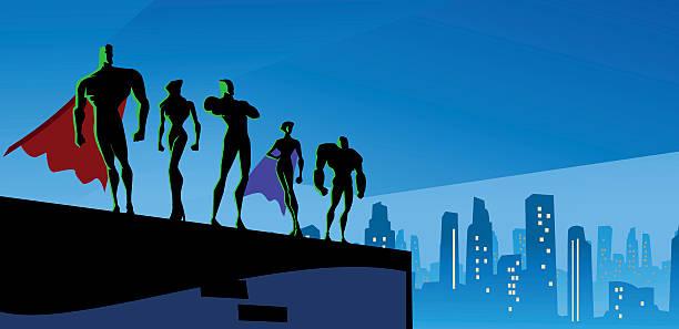スーパーヒーローシルエットに大きな都市のチーム - 漫画の風景点のイラスト素材/クリップアート素材/マンガ素材/アイコン素材