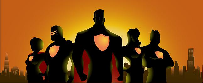 Superhero Team Silhouette in City Skyline Background