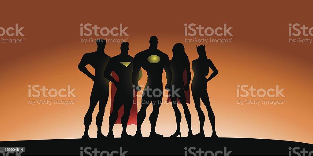 Superhero Team Silhouette royalty-free stock vector art