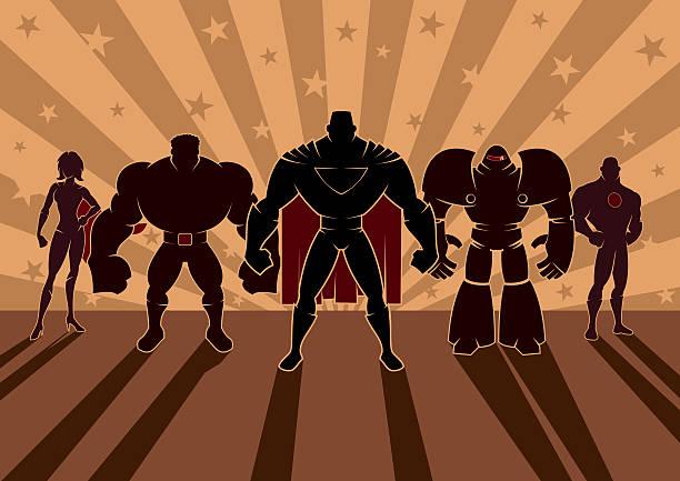 superhero team - anime girl stock illustrations