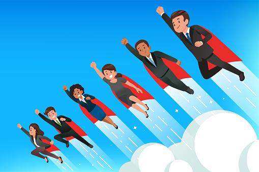 Superhero teamwork people concept.