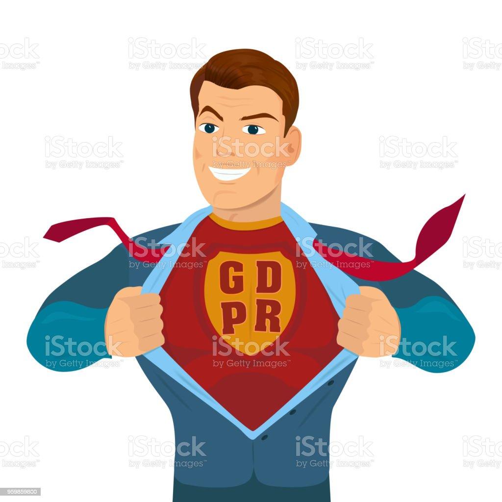 Overhemd Voor Pak.Superheld Scheuren Zijn Overhemd En Pak Met Een Inscriptie Gdpr