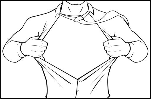 Superhero tearing shirt black and white