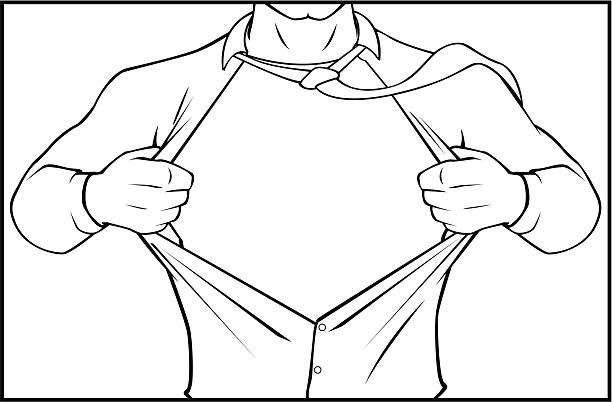 Superhero tearing shirt black and white Black and white (outline) version of this kind fully unbuttoned stock illustrations