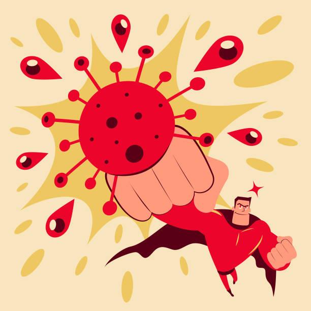 Superhero throws a punch at the new coronavirus (covid-19, bacterium, virus) vector art illustration