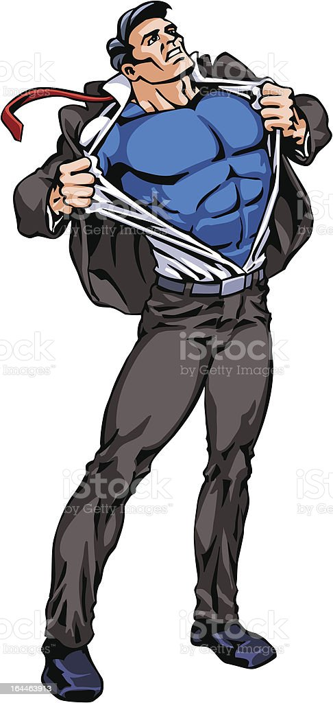 Superhero Transforming, whole figure, isolated vector art illustration