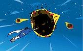 Superhero Tries to Stop Meteors Falling