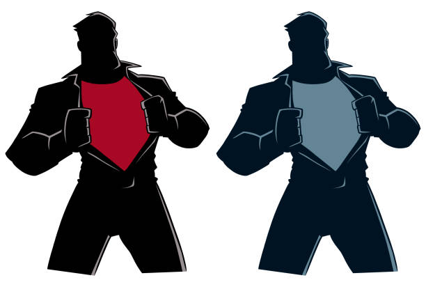 Superhero Under Cover Casual Silhouette Silhouette illustration of businessman revealing his true identity of powerful superhero. chest torso stock illustrations