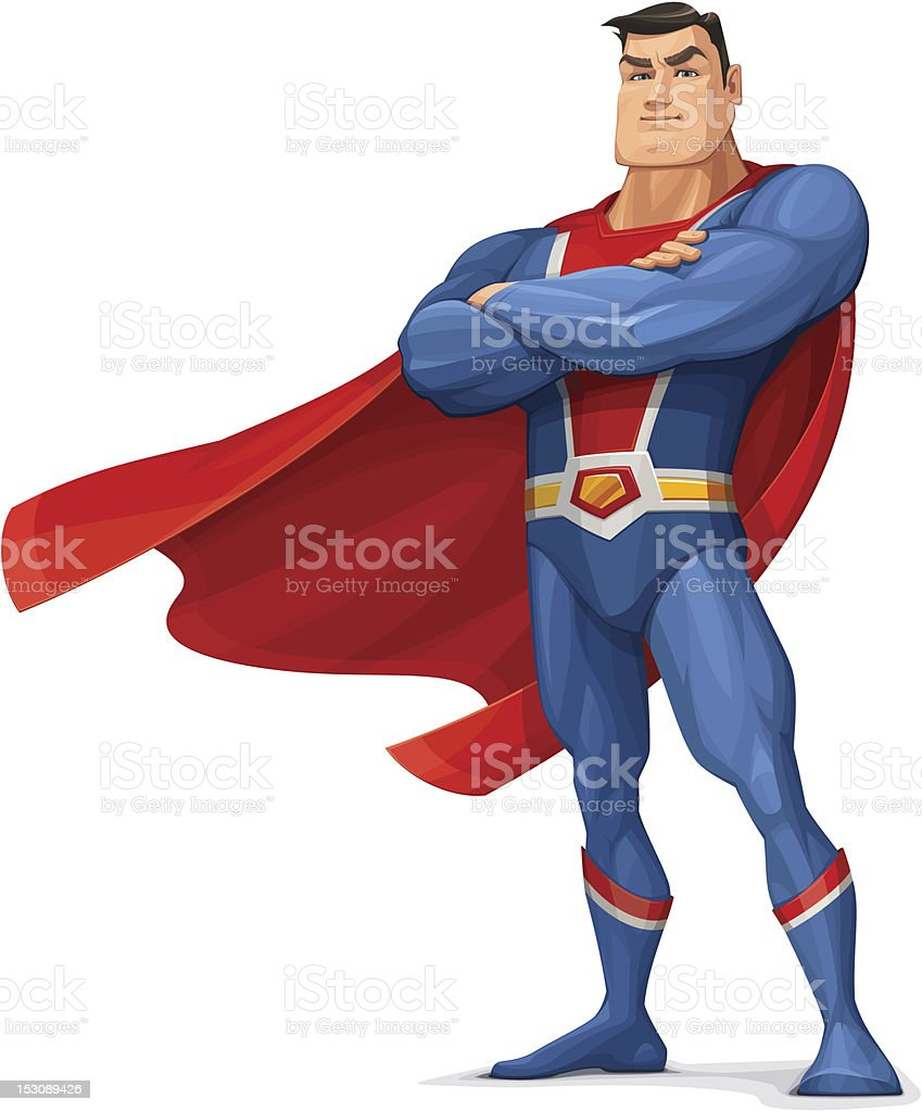 Superhero Superhero Standing with Folded Hands- Vector Illustration. Adult stock vector