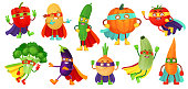 Superhero vegetables. Super cucumber, hero mask on pumpkin and vegetable food with superheroes cloak. Vegetarian superheroes characters. Cartoon vector illustration isolated icons set