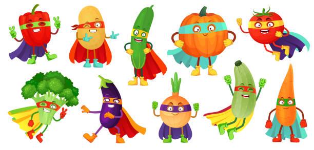 bildbanksillustrationer, clip art samt tecknat material och ikoner med superhjälte grönsaker. super gurka, hjälte mask på pumpa och vegetabilisk mat med superhjältar kappa tecknad vektor illustration uppsättning - vegetarian