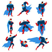 Superhero With Blue Cape In Different Comics Classic Poses Stickers