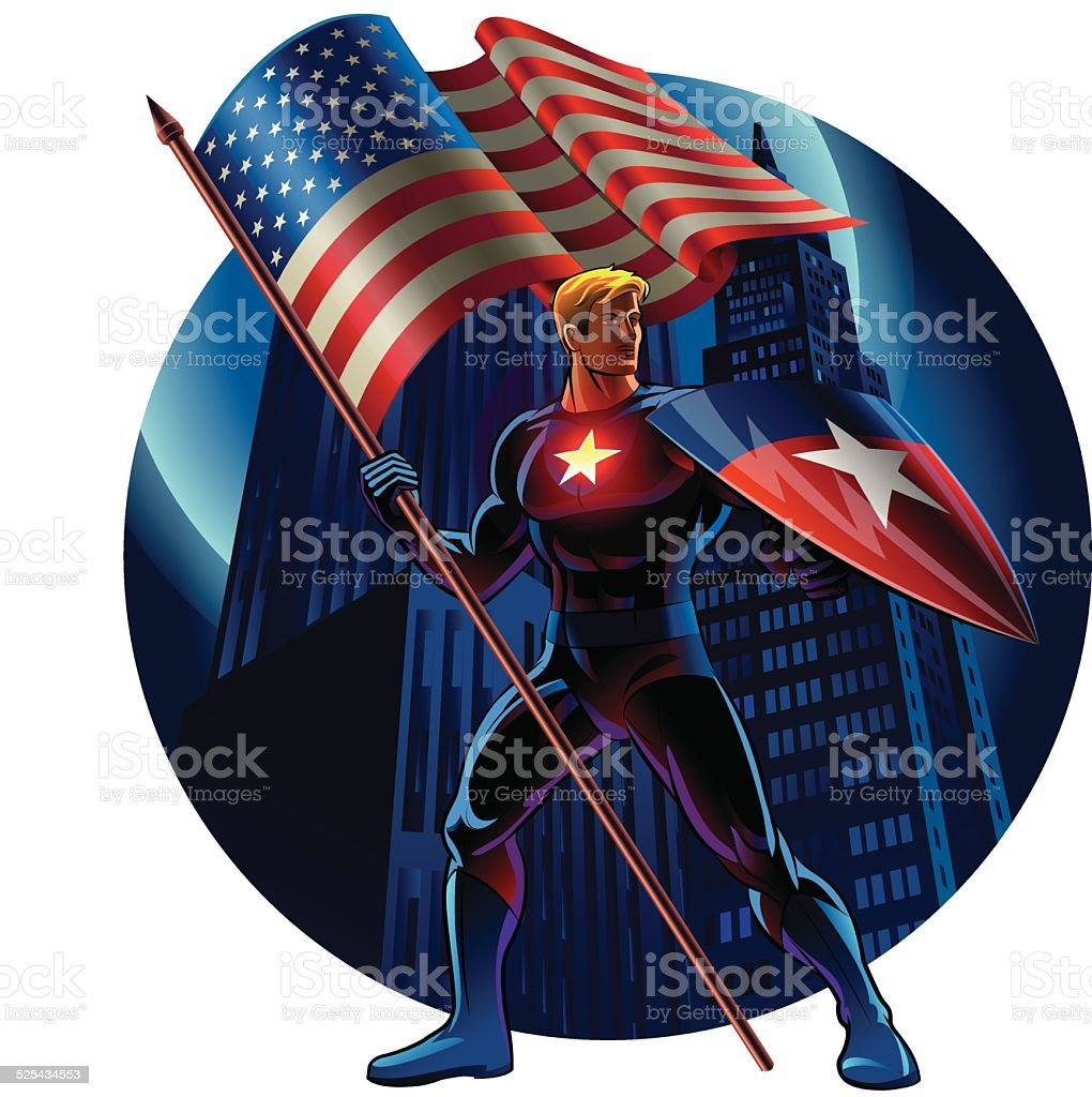 Superhero with the American flag. Vector illustration vector art illustration