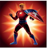 Superhero with the shield. Vector illustration