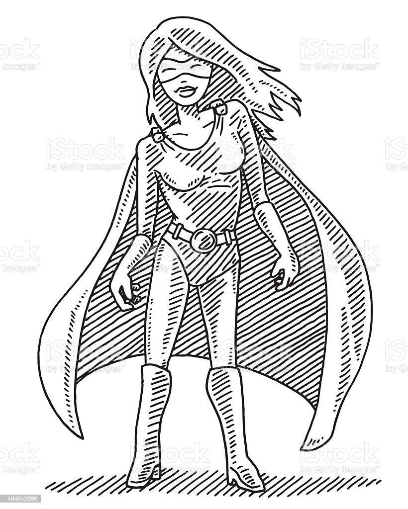 Superhero Woman Character Drawing vector art illustration