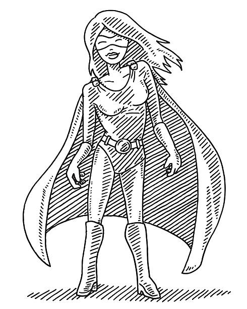 Superhero Woman Character Drawing Hand-drawn vector drawing of a Superhero Woman Character. Black-and-White sketch on a transparent background (.eps-file). Included files are EPS (v10) and Hi-Res JPG. women stock illustrations
