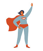istock Superhero woman character. Wonderful female hero character in superhero costume with waving cape disguise. female in muscular pose, game figure. Super girl cartoon vector isolated. 1297477192
