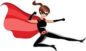Superhero woman fighting karate