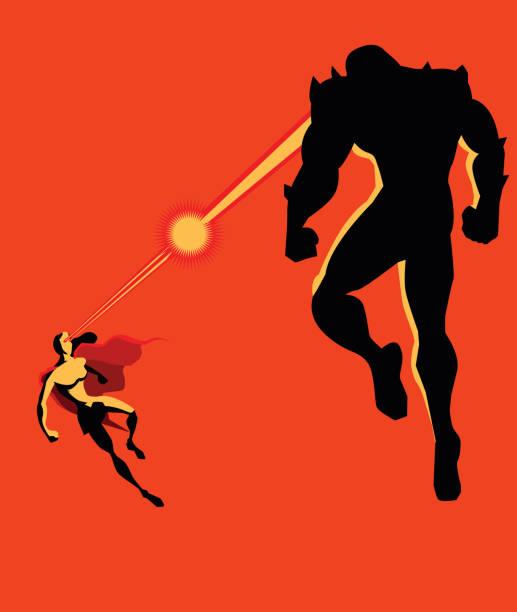 スーパー ヒーロー女熱のビジョンとモンスターとの戦い - 漫画のモンスター点のイラスト素材/クリップアート素材/マンガ素材/アイコン素材