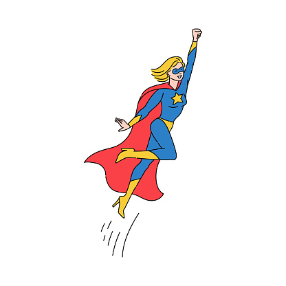 Superhero woman flying in costume with cape sketch vector illustration isolated.