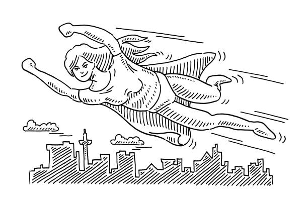 Superhero Woman Flying Over The City Drawing Hand-drawn vector drawing of a Superhero Woman Flying Over The City. Black-and-White sketch on a transparent background (.eps-file). Included files are EPS (v10) and Hi-Res JPG. cartoon character figure stock illustrations