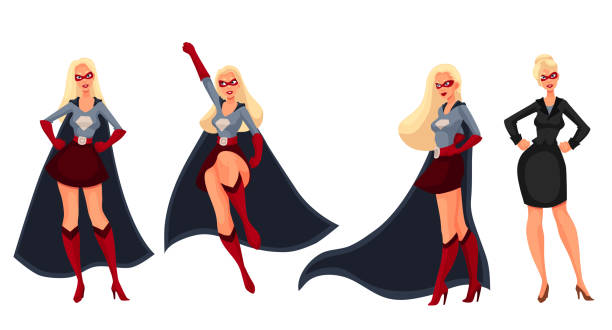 superhero woman in cape and business suit - superwoman stock-grafiken, -clipart, -cartoons und -symbole