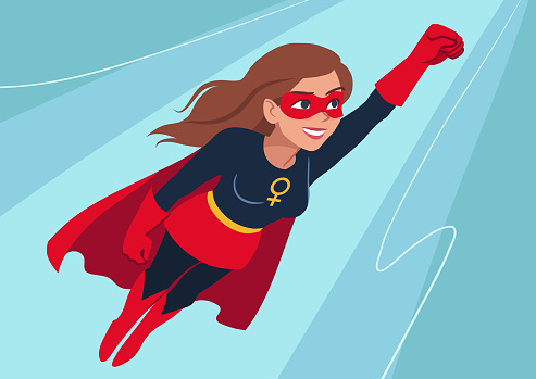 Superhero woman in flight. Attractive young Caucasian woman wearing superhero costume with cape, flying through air in superhero pose, on sky background. Flat contemporary style.