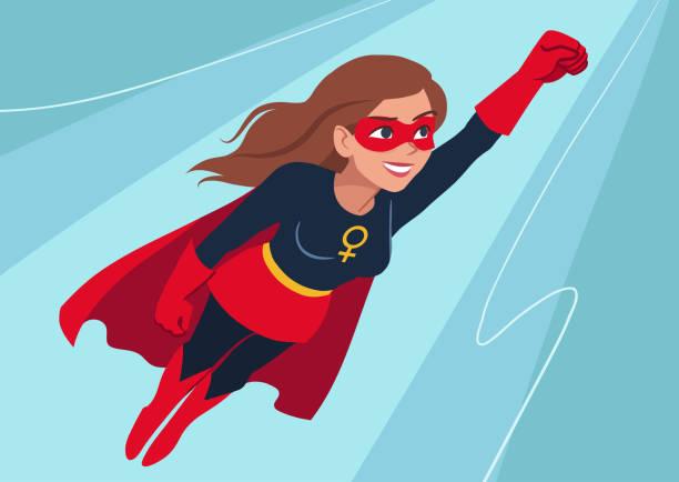superhelden-frau auf der flucht. attraktive junge frau kaukasischen tragen superhelden-kostüm mit umhang, fliegen durch die luft in superhelden-pose auf himmelshintergrund. flache zeitgenössischen stil. - weiblicher teenager stock-grafiken, -clipart, -cartoons und -symbole