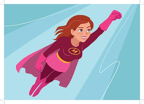 superhero woman in flight - superwoman stock-grafiken, -clipart, -cartoons und -symbole