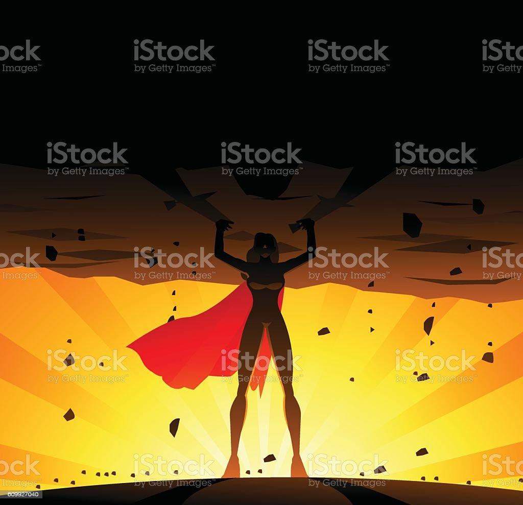 Superhero Woman Lifts A Heavy Globe vector art illustration
