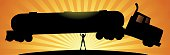 A vector silhouette illustration of a superhero woman lifting a big tanker. Wide space available for your copy. Sunburst in the background. AICS5 file included.