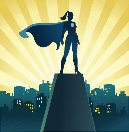 Superhero Woman on Watch With Skyline