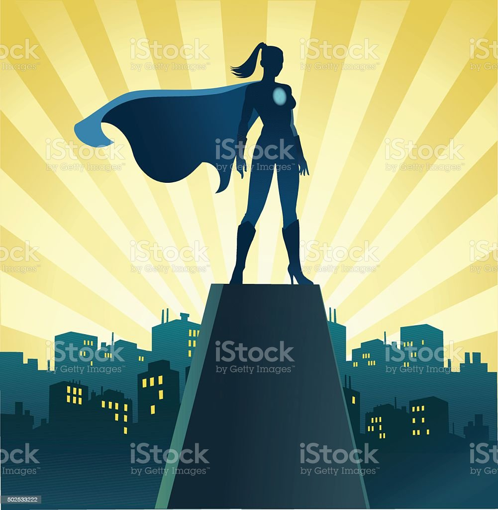 Superhero Woman on Watch With Skyline vector art illustration
