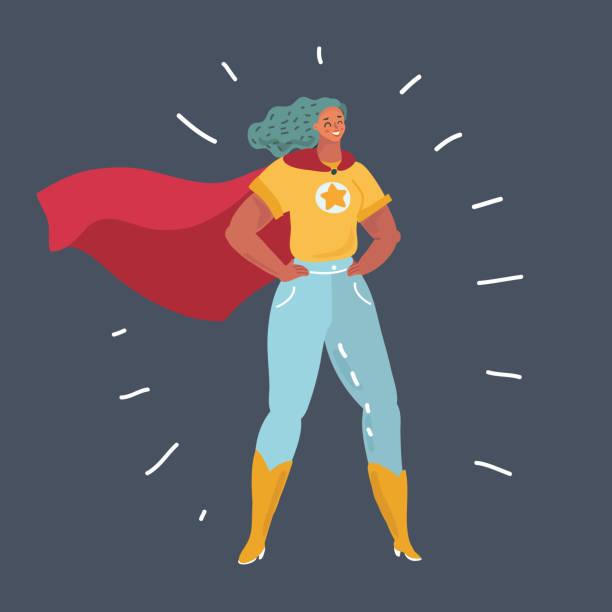 superheld frau stehend auf dunklem hintergrund. - superwoman stock-grafiken, -clipart, -cartoons und -symbole