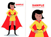 Superhero woman (African ethnicity or African-american ethnicity) standing with hand on hip