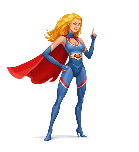 Superhero Woman vector art illustration