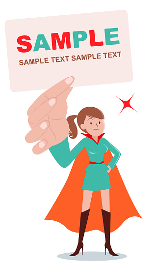 Superhero young brown women standing and holding blank white card with hand on hip