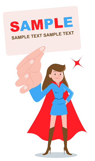 Superhero young women standing and holding blank white card with hand on hip